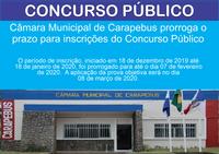 Câmara Municipal de Carapebus prorroga o prazo para inscrições do Concurso Público
