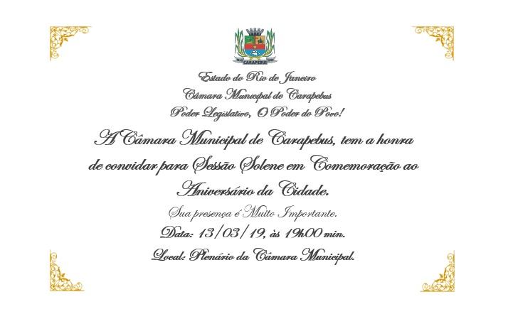 Convite sessão Solene 13 de março de 2019