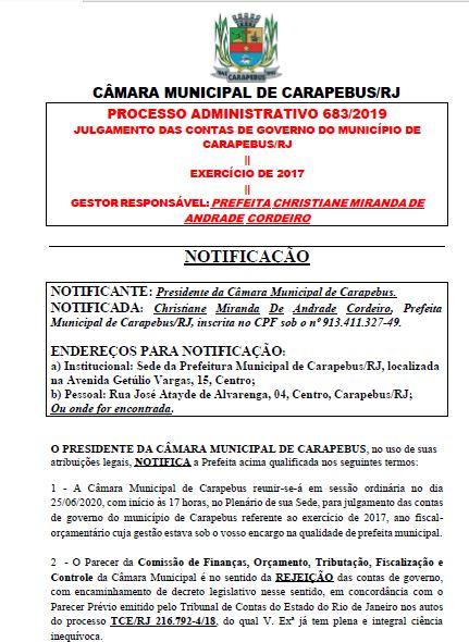 NOTIFICAÇÃO DA PREFEITA - SESSÃO DE JULGAMENTO